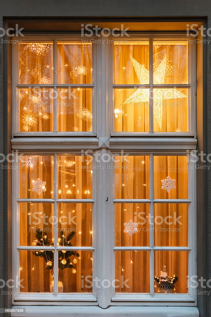 Christmas at the window stock photo