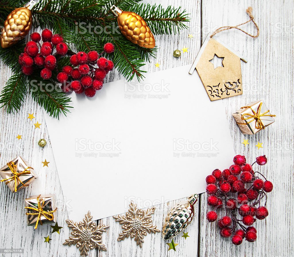 christmas background - blank paper with decoration stock photo