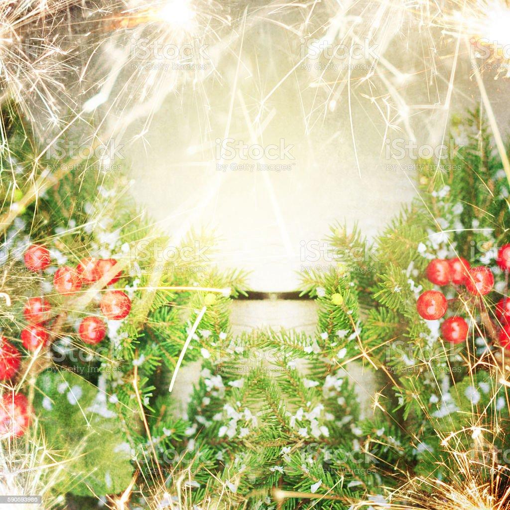 Christmas background border with sparkle stock photo