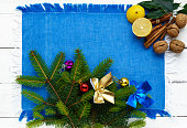 Christmas background. Branch spruce decorated with colorful decorations