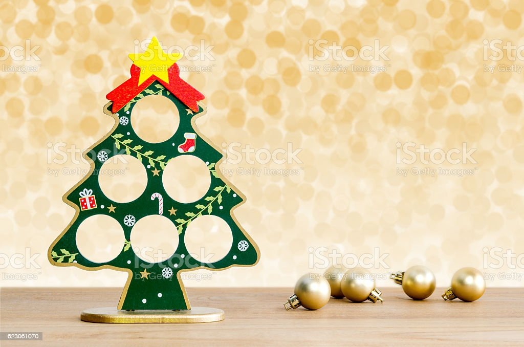 Christmas background. Christmas tree and golden balls. stock photo