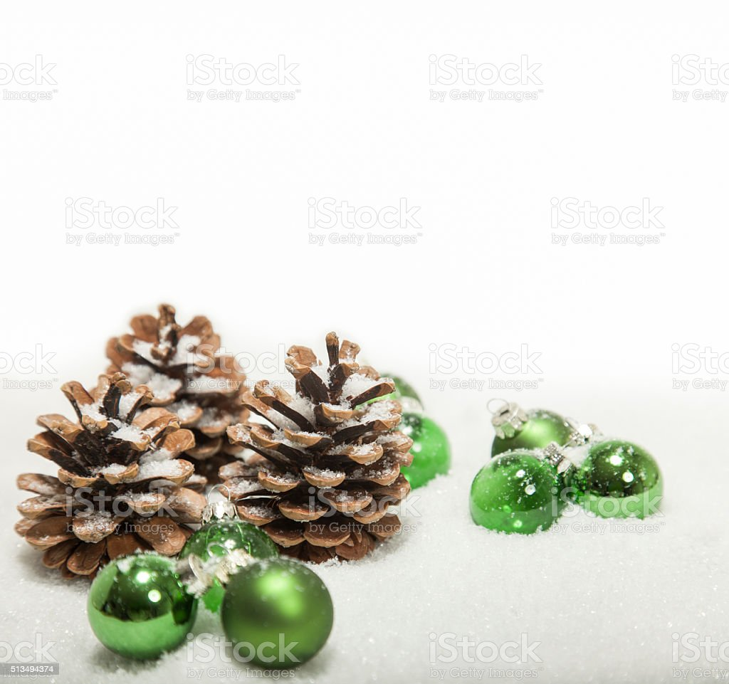 christmas background cones and balls stock photo