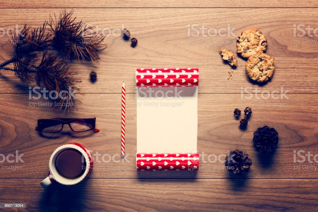 Christmas background, desk with an empty letter to santa stock photo