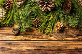 Christmas background. Fir tree branches and cones on wood
