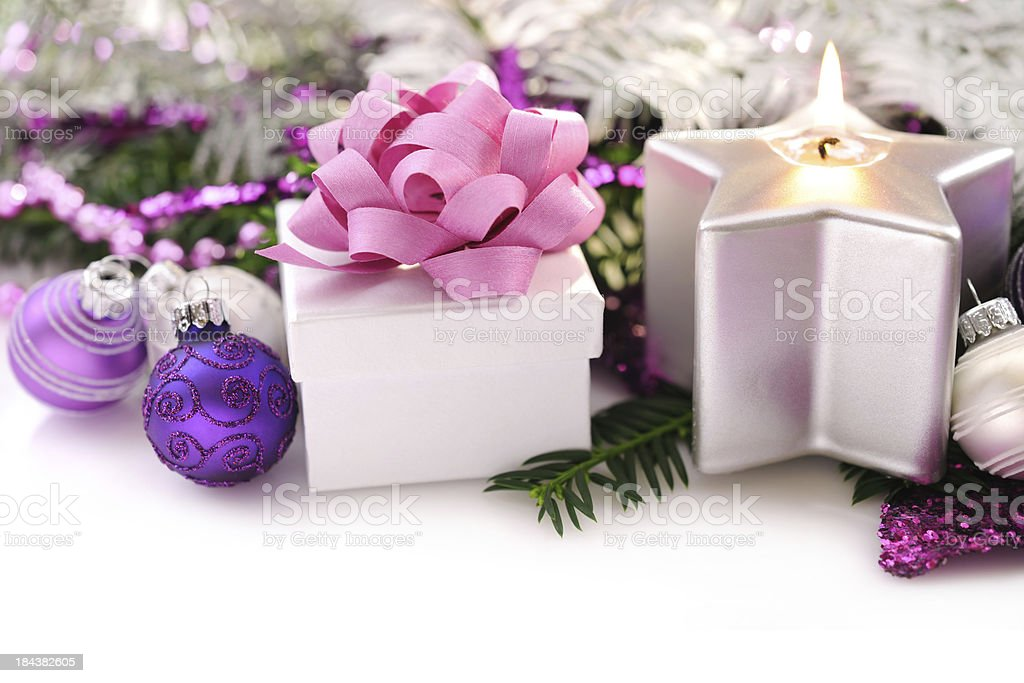Christmas background in pink, green and silver royalty-free stock photo
