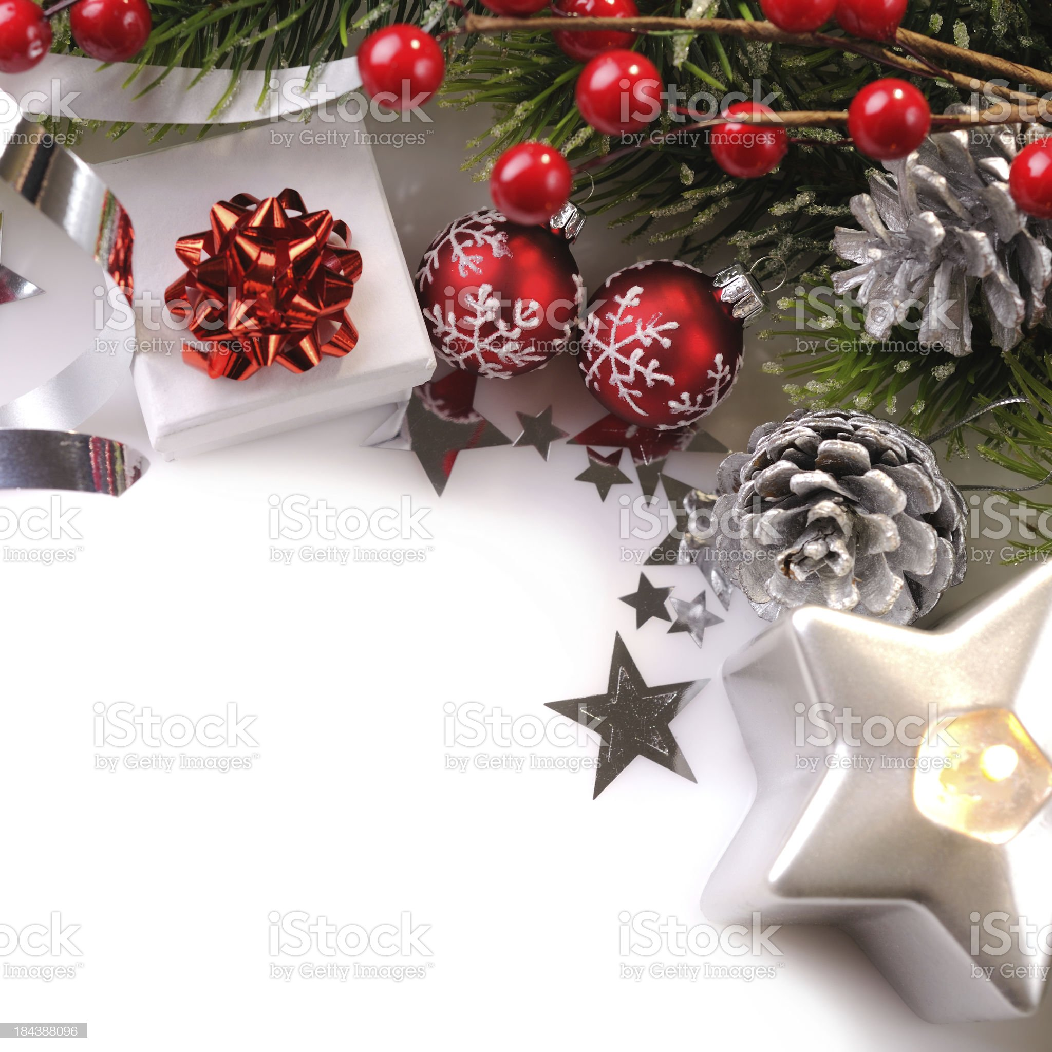 Christmas background in red,green and silver royalty-free stock photo
