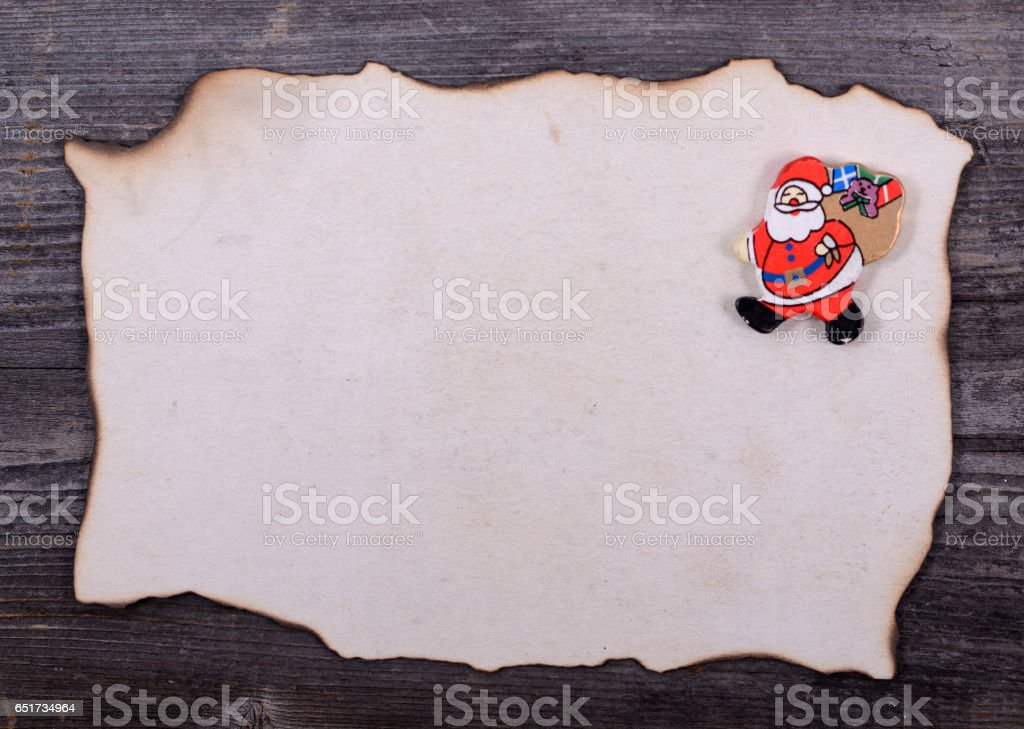 Christmas background - Letter for Santa Claus stock photo