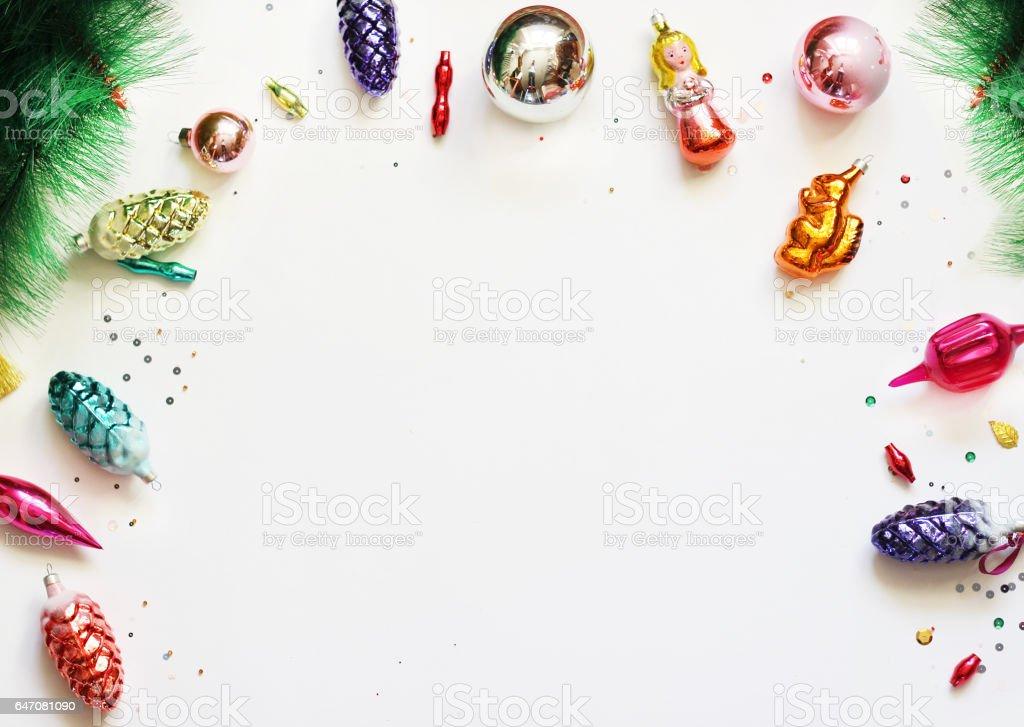 Christmas background mock up. Flat lay. stock photo