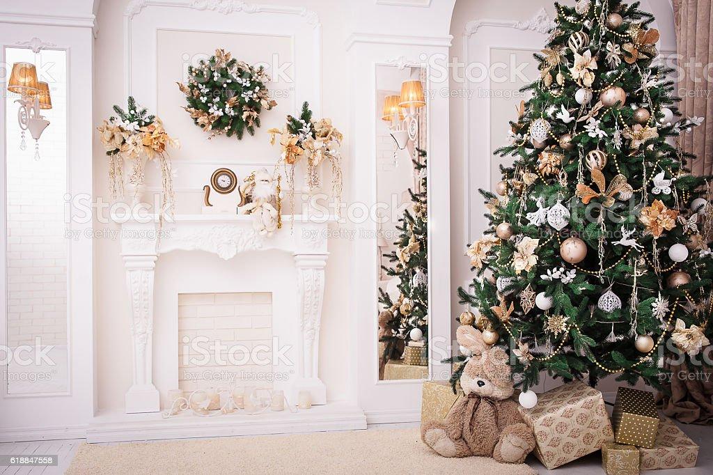 Christmas background. New Year interior design stock photo