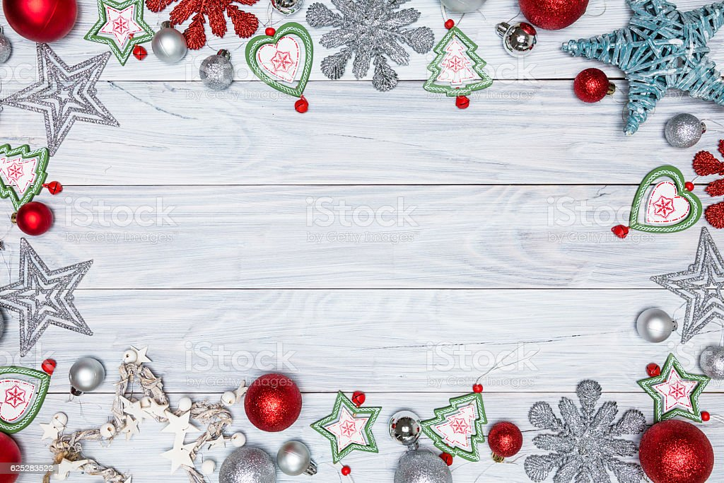 Christmas background on the white wooden table stock photo