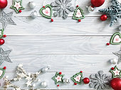 Christmas background on the white wooden table