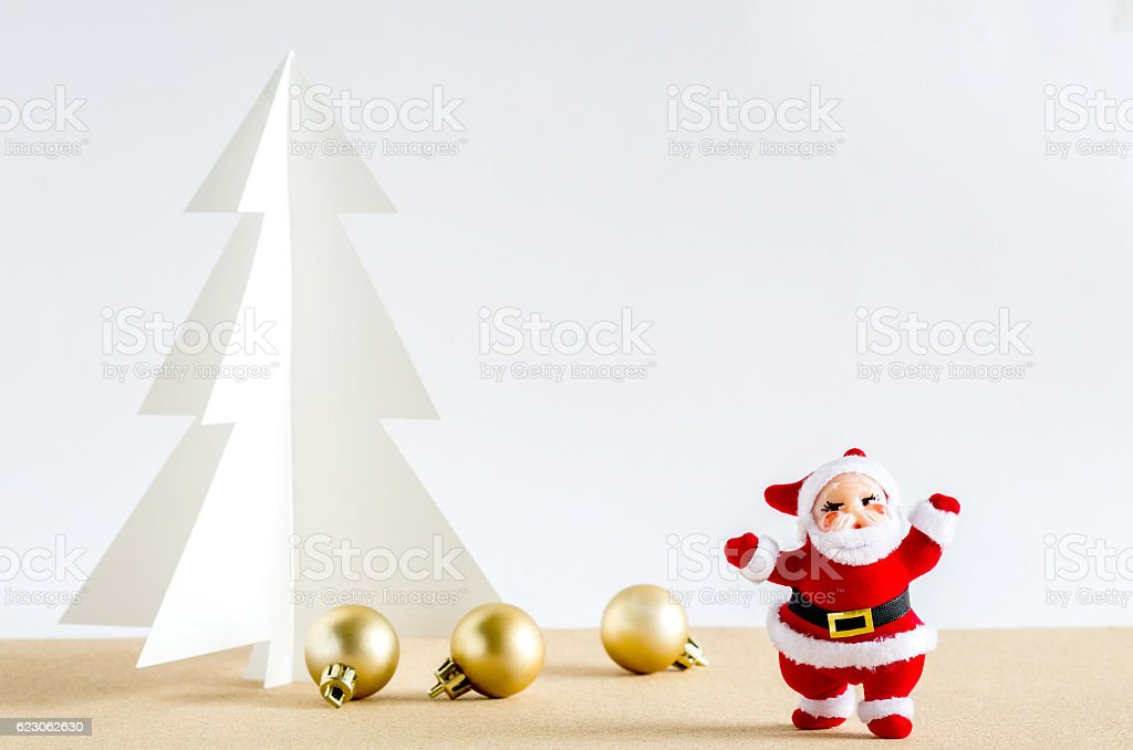 Christmas background. Santa Claus, golden balls and christmas tr stock photo