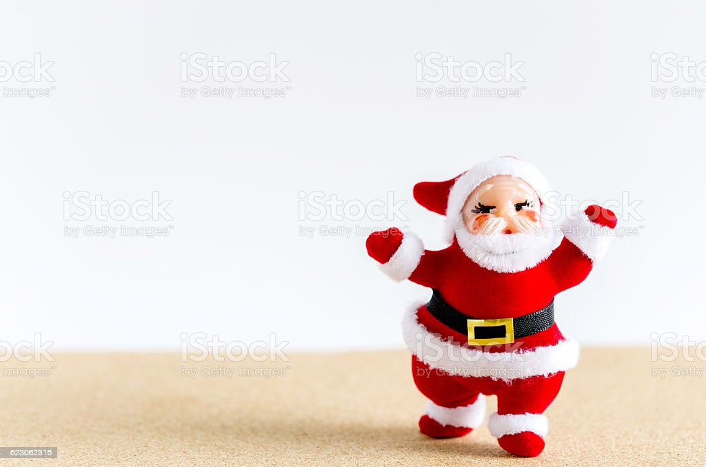 Christmas background. Santa Claus on brown table. stock photo