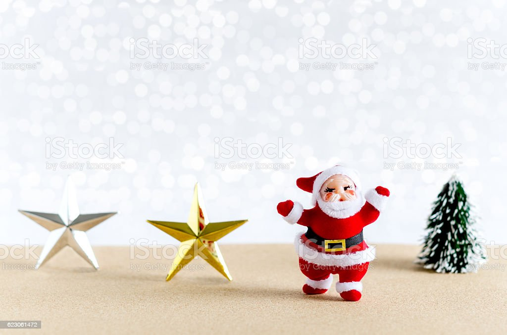 Christmas background. Santa Claus, star, christmas tree. stock photo
