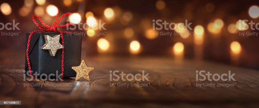 Christmas background with a gift stock photo