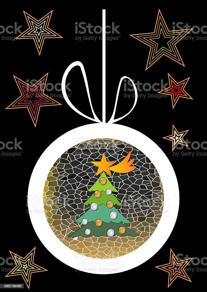 Christmas background with ball, tree and stars stock photo