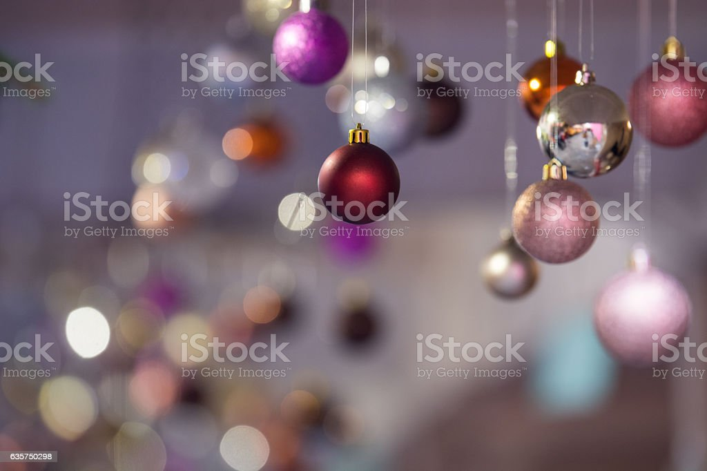 Christmas background with baubles out of focus. Horizontal photo. stock photo