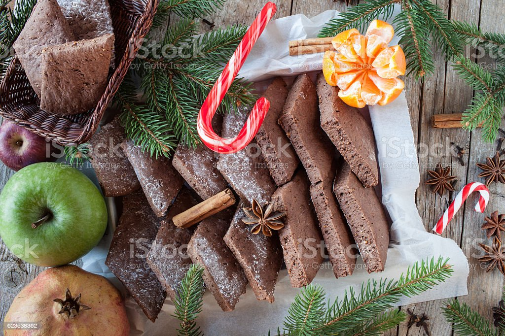Christmas Background With Biscuits And Fruits stock photo