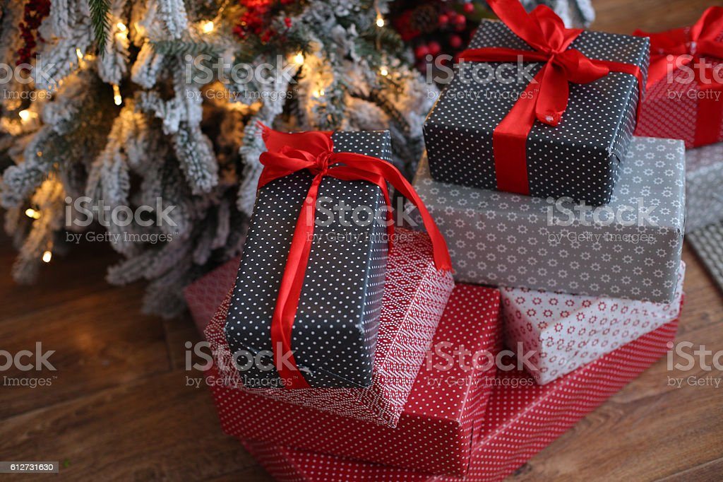 Christmas background with blue and red gifts stock photo
