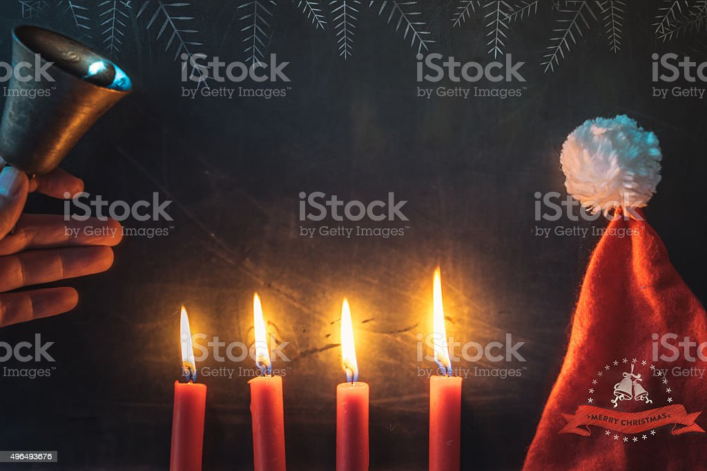 christmas background with candles on blackboard with chalk line illustration stock photo