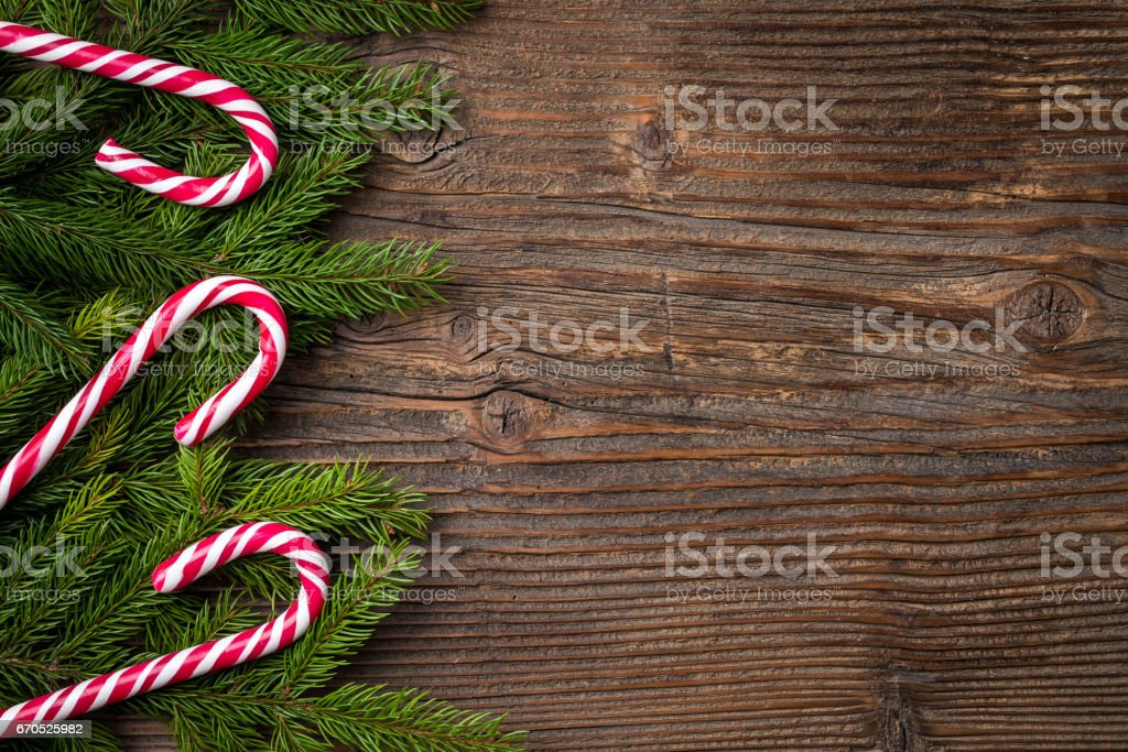 Christmas background with candy cane stock photo