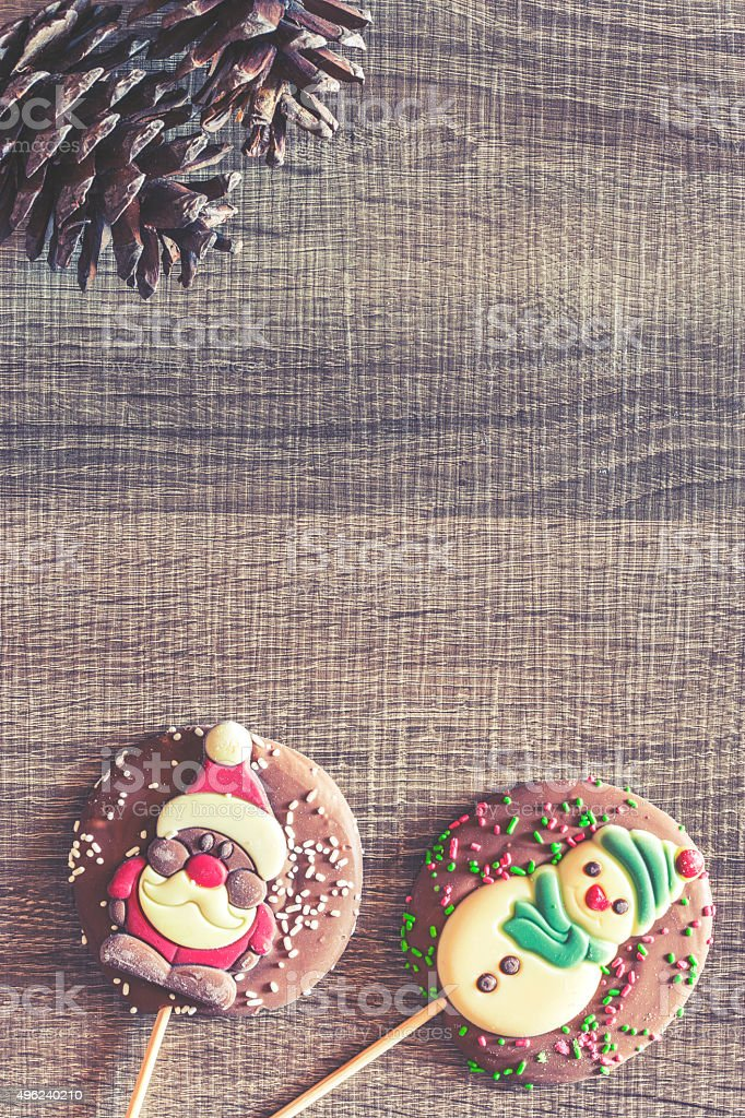 Christmas background with chocolate figures stock photo