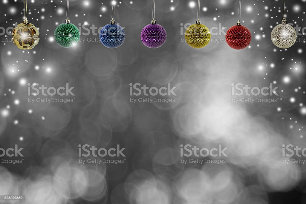Christmas background with christmas ball and snow over winter stock photo