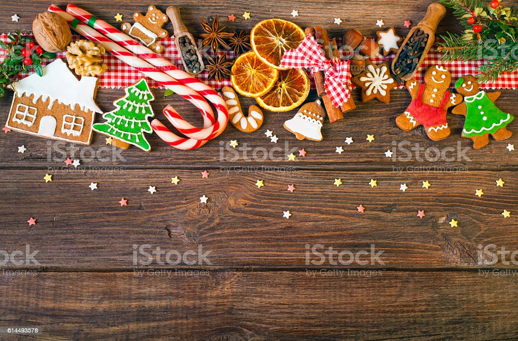 Christmas background with Christmas cookies, decoration and spices stock photo