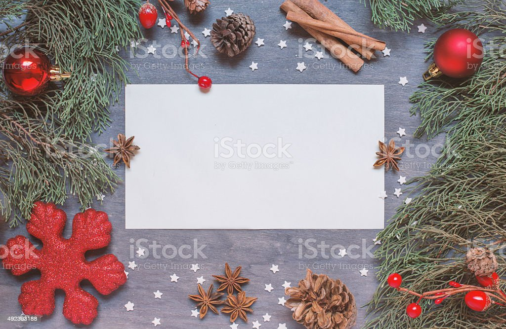 Christmas background with cone stock photo