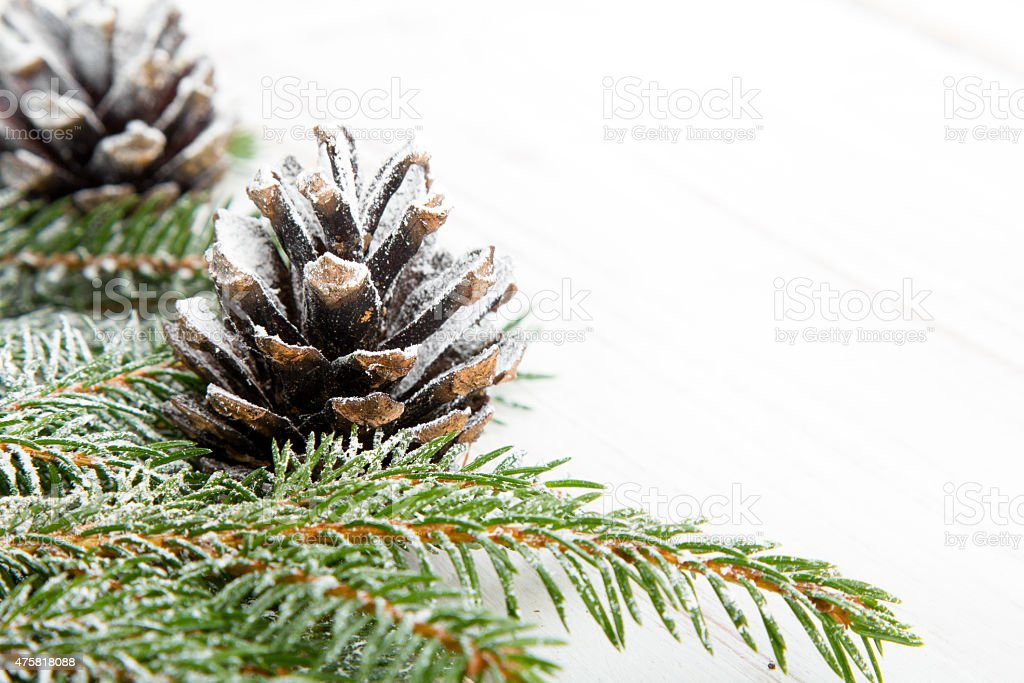 Christmas background with decoration with cones and twigs stock photo