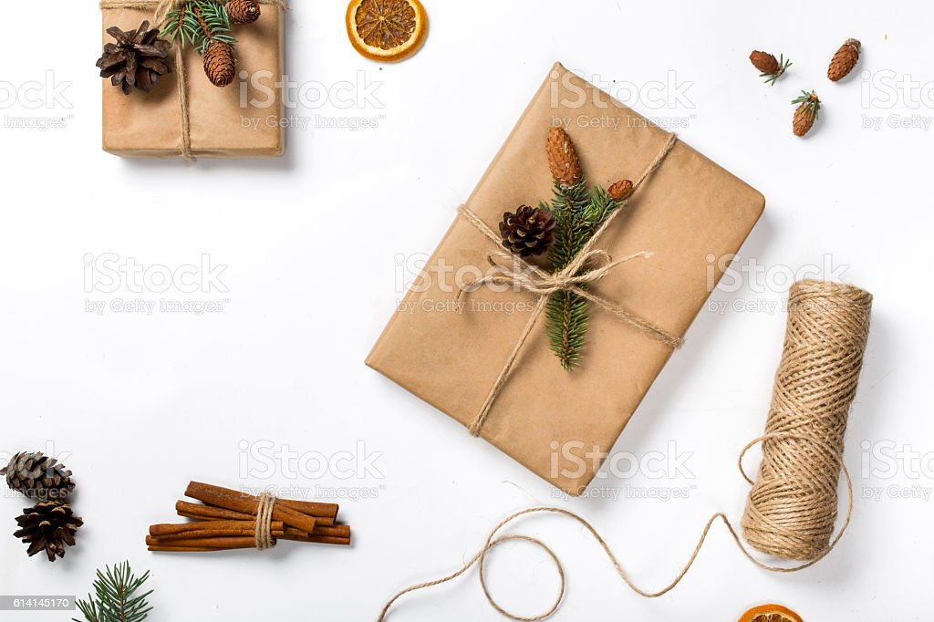 Christmas background with decorations and present handmade on wh stock photo