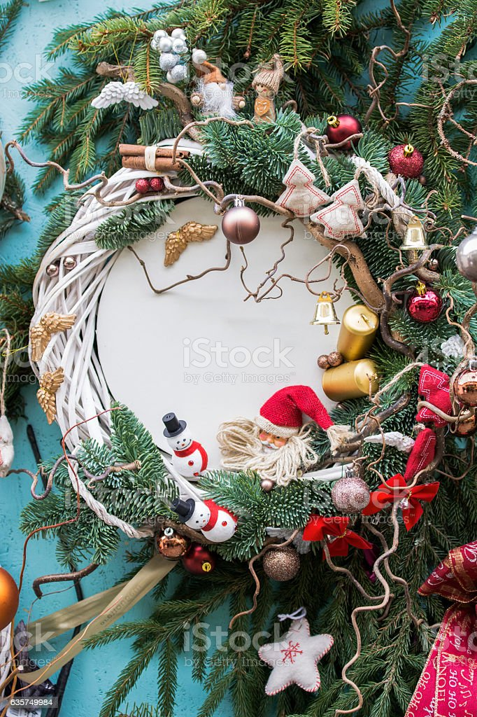 Christmas background with fir branches,baubles,candles stock photo