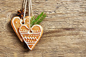 Christmas background with gingerbread heart