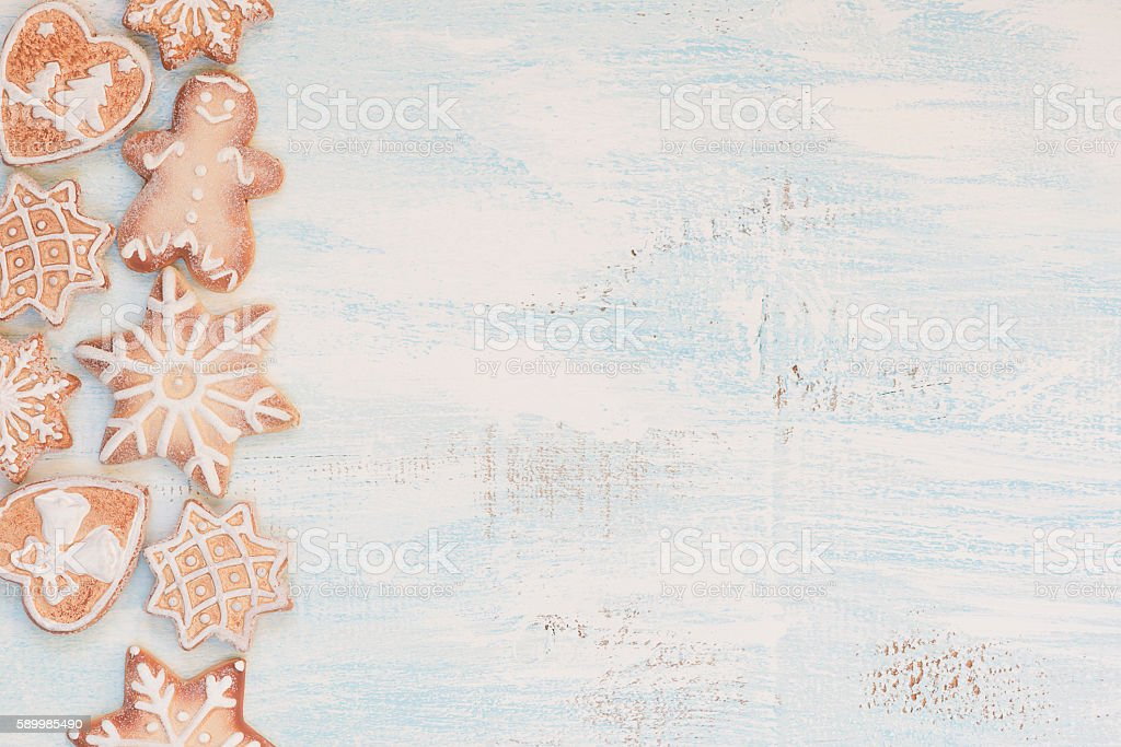 Christmas background with gingerbread stock photo