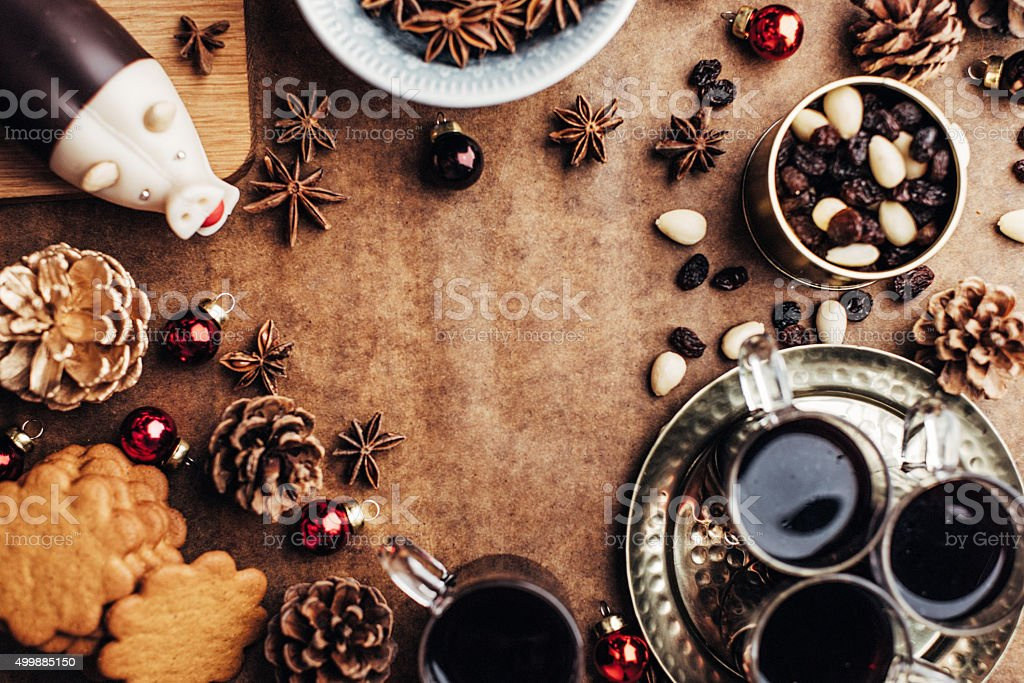 Christmas background with glögg ginger bread cookies and other food stock photo