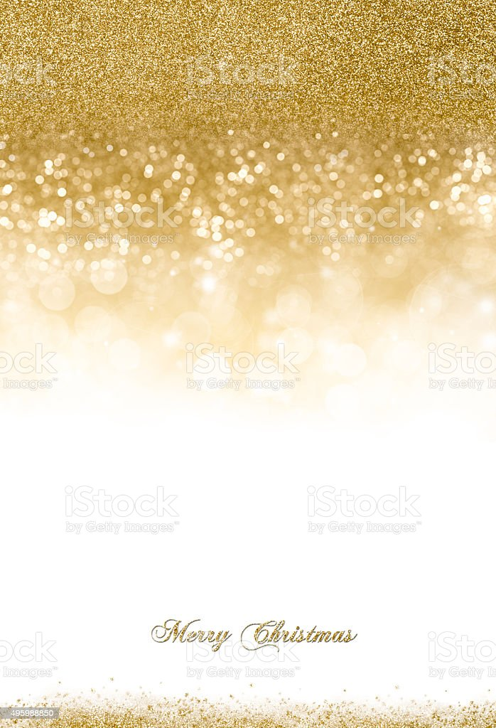 Christmas Background with Golden Glitter Scattered stock photo
