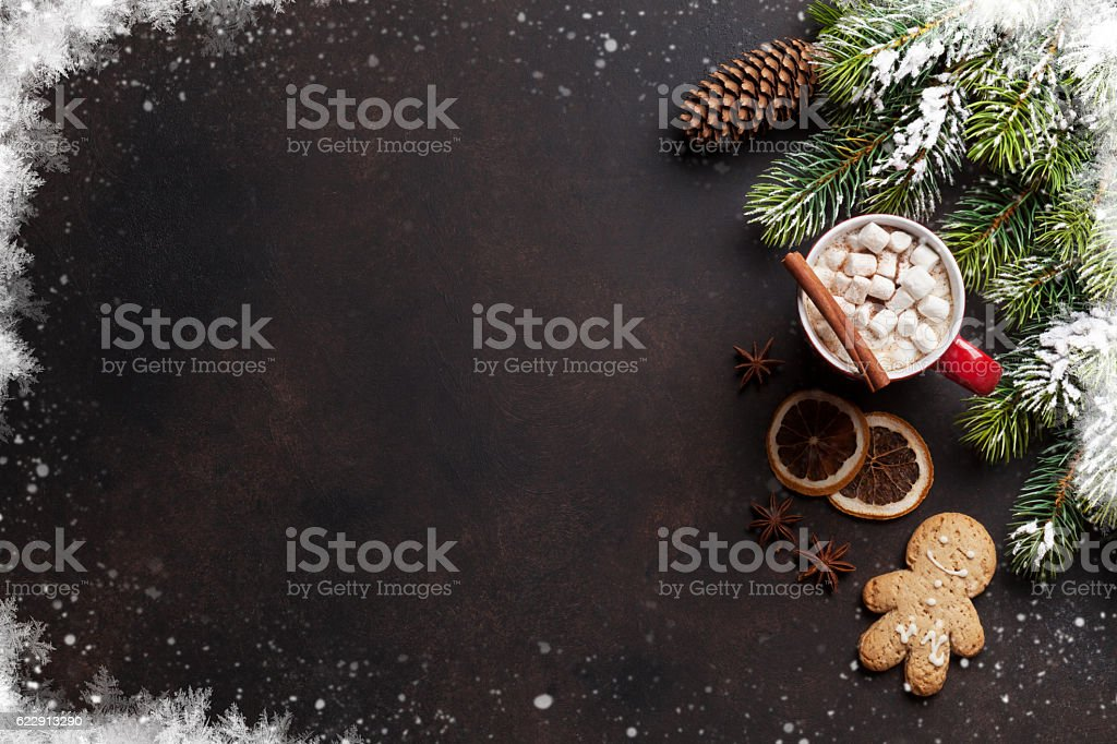 Christmas background with hot chocolate and marshmallow stock photo