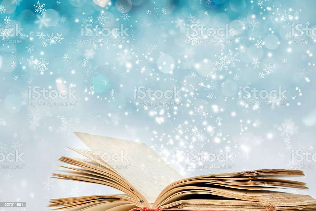 Christmas background with magic book stock photo