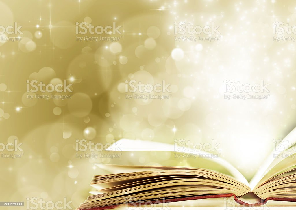 Christmas background with opened magic book stock photo
