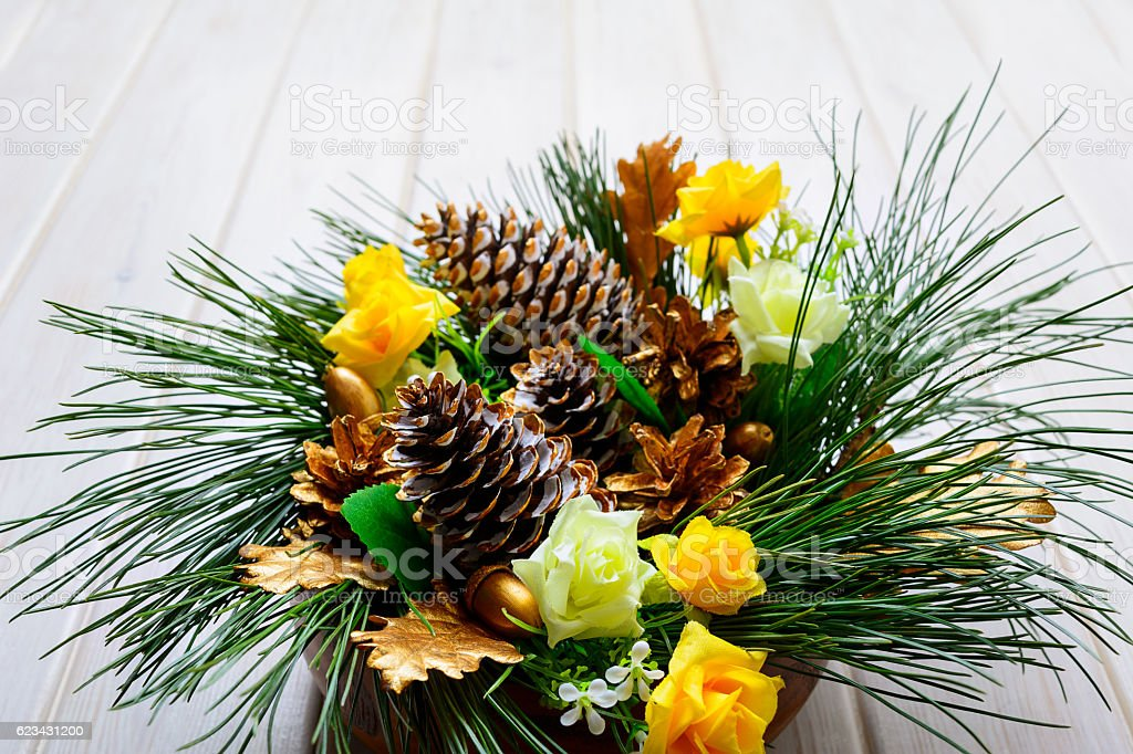 Christmas background with pine branches and golden decorated fir stock photo