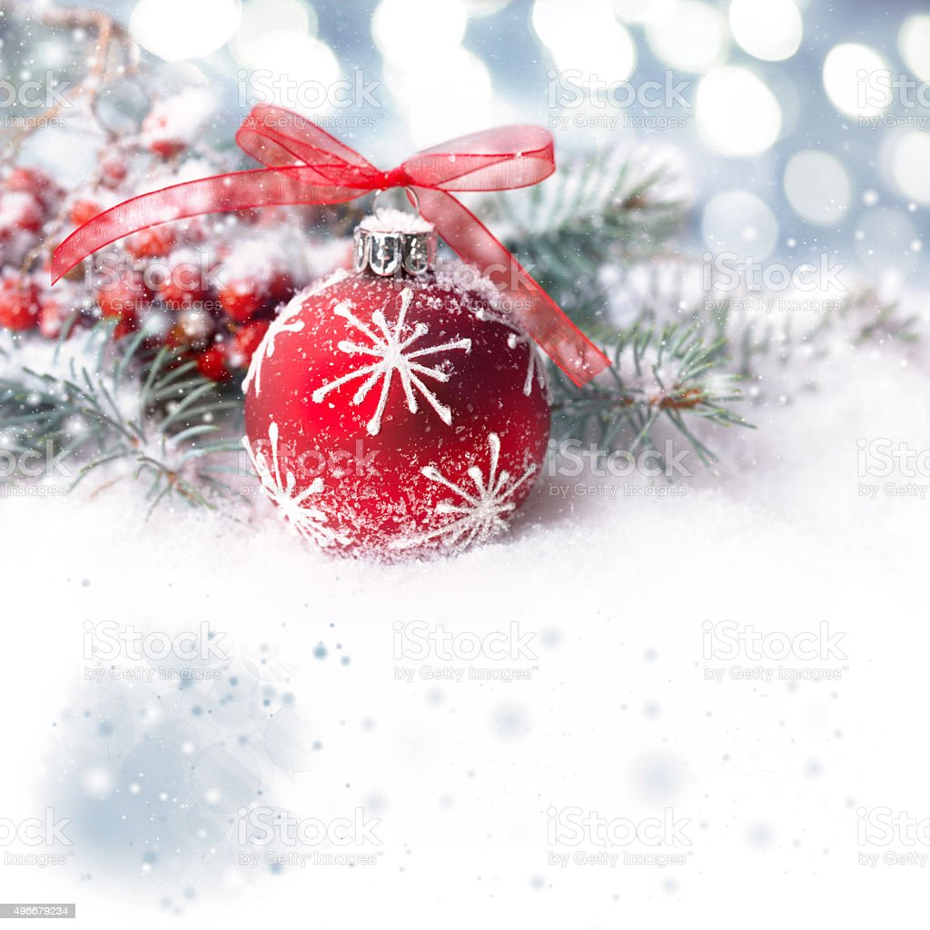 Christmas background with red bubble on show, text space stock photo