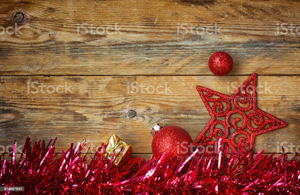 Christmas background with red tinsel stock photo