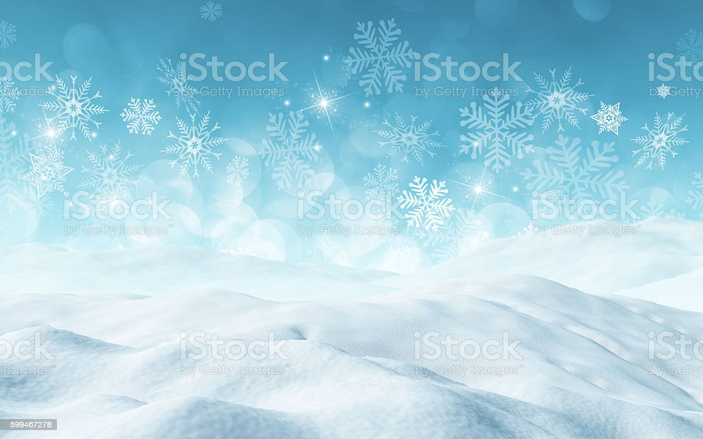 3D Christmas background with snow stock photo