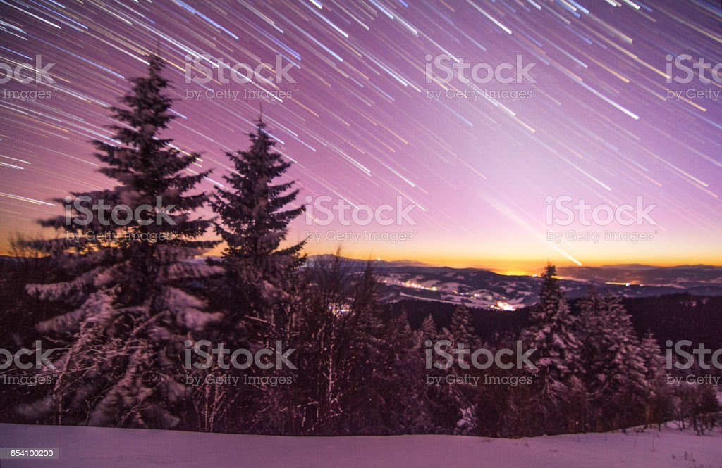 Christmas background with snowy fir trees and copy space stock photo