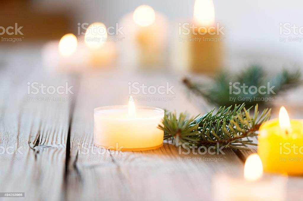 christmas background wood and candle light stock photo