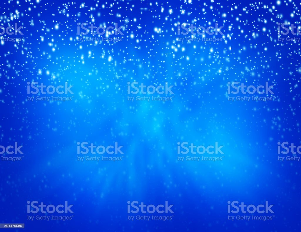Christmas Background-Snowfall with blue background stock photo