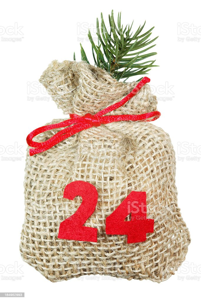 Christmas bag for advent calendar isolated on white stock photo