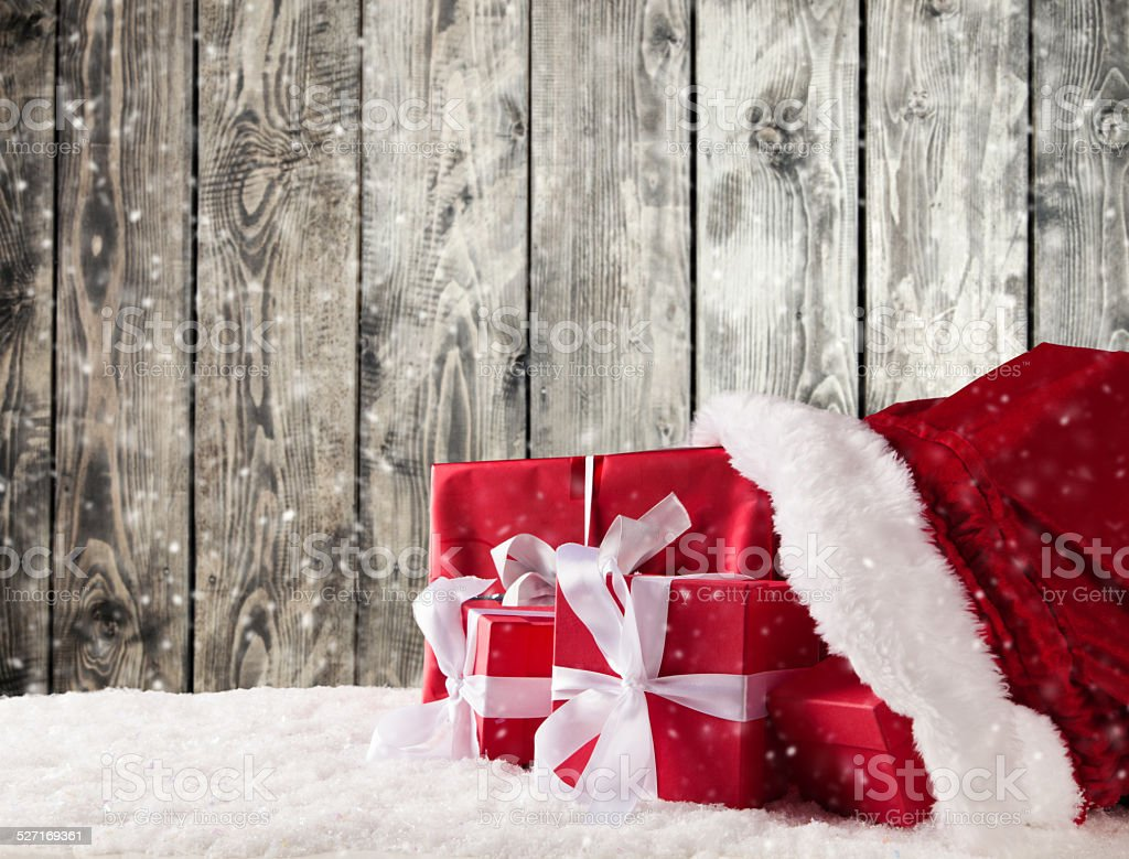 Christmas bag with gifts stock photo