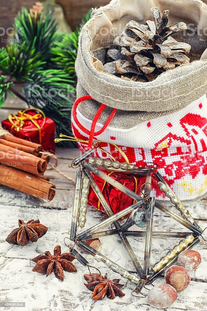 Christmas bag with pine cones stock photo