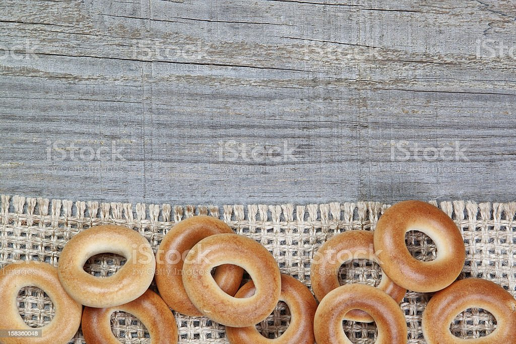 Christmas  bagels on sackcloth texture wood. royalty-free stock photo